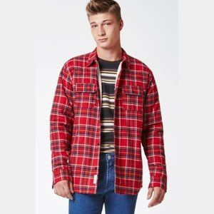Modern Amusement Red Plaid Flannel Jacket Small
